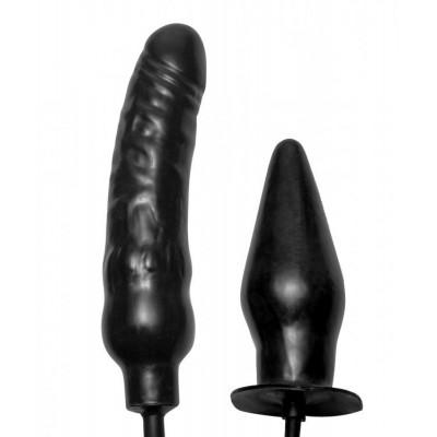 Пробка и фаллос с функцией расширения Deuce Double Penetration Inflatable Dildo and Anal Plug