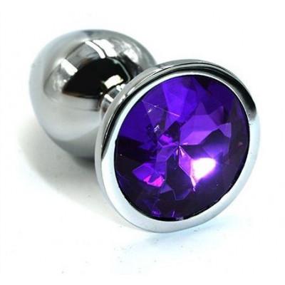 Серебристая алюминиевая анальная пробка с темно-фиолетовым кристаллом - 7 см.