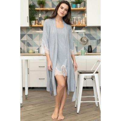 Домашний халат Medea с кружевными рукавами