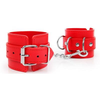 Красные наручники на регулируемых ремешках с цепочкой